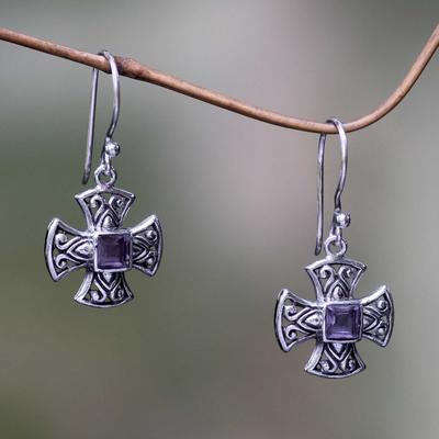 Amethyst dangle earrings, 'Cross Pattee' - Balinese Handcrafted Silver and Amethyst Cross Earrings