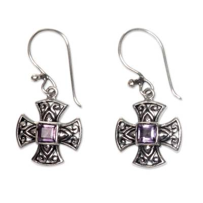Amethyst dangle earrings, 'Cross Pattee' - Balinese Handcrafted Silver and Amethyst Cross Earrings