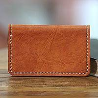 Leather wallet, 'Aren Sugar Brown' - Tan Brown Leather Wallet Crafted by Hand