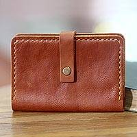 Leather passport wallet, 'Jakarta Cinnamon' - Warm Brown Leather Passport Wallet Handmade in Bali