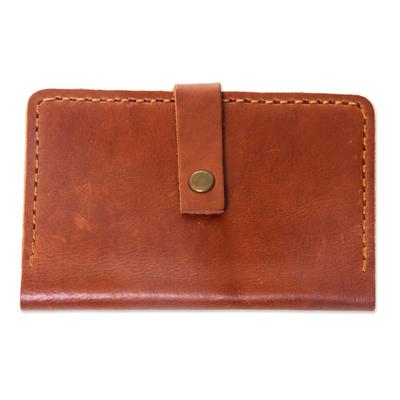 Warm Brown Leather Passport Wallet Handmade in Bali
