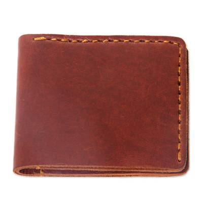 Dark Brown Leather Wallet for Men Crafted by Hand in Java