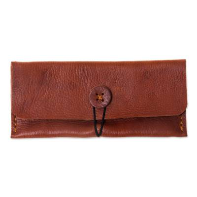 Brown Leather Wallet Crafted by Hand in Java