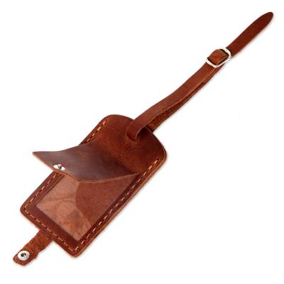 Brown Leather Luggage Tag Handmade in Bali