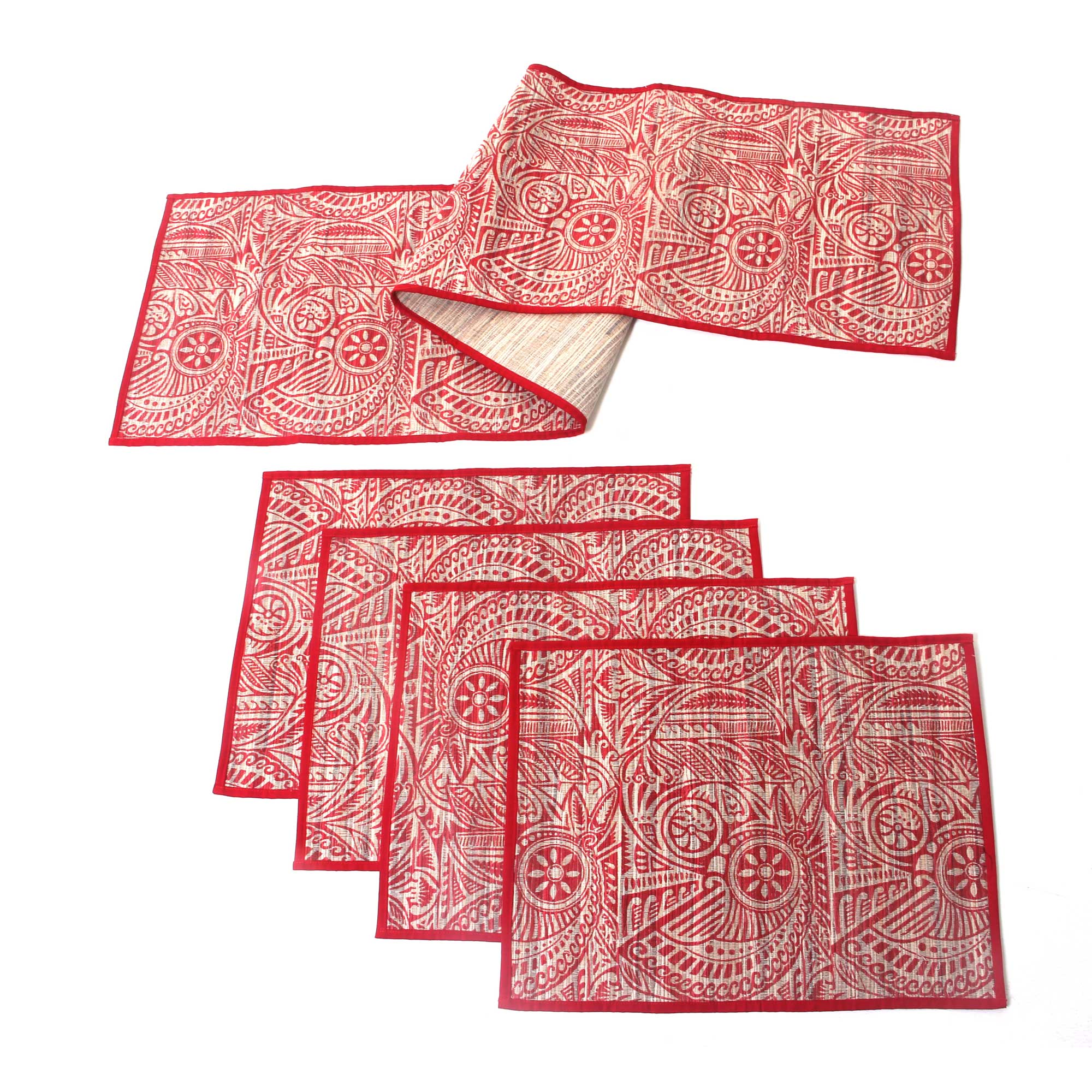 Unicef Market Handmade Red Floral Table Runner And Placemats Set