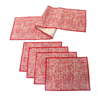 Cotton and natural fiber table runner and placemats, 'Java Red' (set for 4) - Handmade Red Floral Table Runner and Placemats (Set for 4)