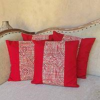 Cotton and natural fiber cushion covers, 'Oriental Red' (set of 4) - Hand Crafted Red Cotton Cushion Covers (Set of 4)