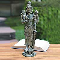 Bronze sculpture, 'Ancient King Kertarajasa' - Antiqued Bronze Kertarajasa Replica Sculpture Hindu Art