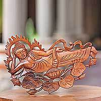 Wood relief panel, 'Buddha Relaxes' - Signed Balinese Buddha Suar Wood Relief Panel Sculpture