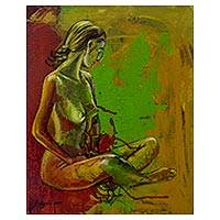 'Beauty' - Javanese Original Expressionist Nude Portrait