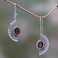 Garnet dangle earrings, 'Crimson Gaze' - Handmade Sterling Silver Hook Earrings with Garnets