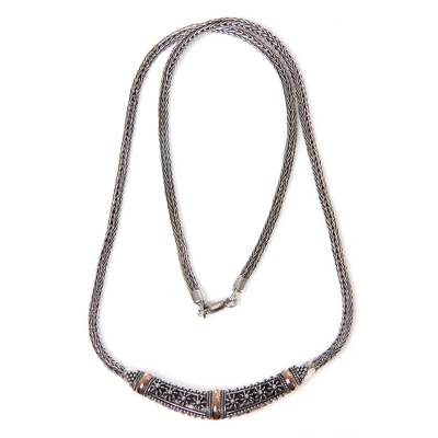 Handmade 18k Gold Accent Balinese Silver Chain Necklace