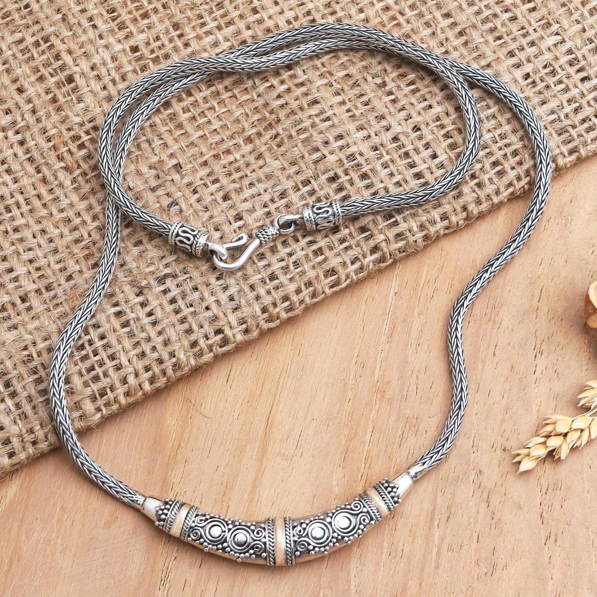 Eternal Flame Bali Sterling Silver Chain Necklace with 18k Gold Accents The Perfect Necklace