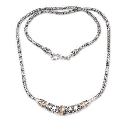 Bali Sterling Silver Chain Necklace with 18k Gold Accents