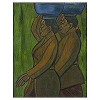 'Go to the Temple' - Portrait Painting of Balinese Women in Oils on Canvas