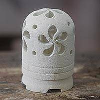 Limestone tealight candleholder, 'Jasmine Glow' - Balinese Carved Floral Limestone Tealight Holder Sculpture
