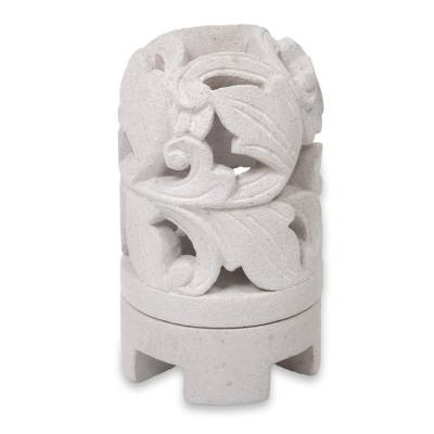 Hand Carved Limestone Sculpture Indonesian Candleholder