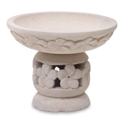 Hand Carved Limestone Oil Warmer from Bali