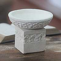 Featured review for Limestone tealight candleholder, Frangipani Romance (2 pieces)