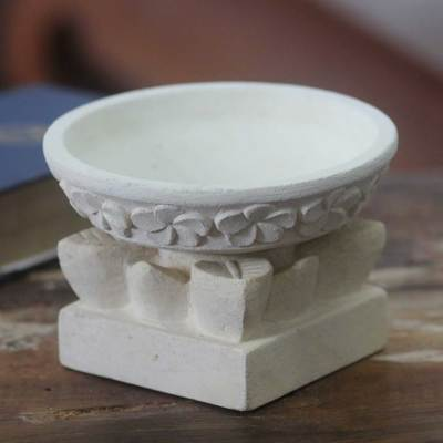 Limestone tealight candleholder, 'Frangipani Light' (2 pieces) - Hand Carved Floral Limestone Candleholder and Stand