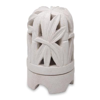 Limestone Bamboo Sculpture Tealight Candleholder