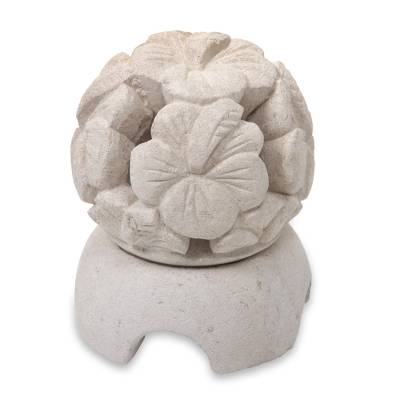Carved Floral Limestone Tealight Candleholder from Bali