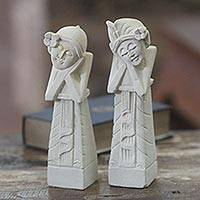 Limestone statuettes, 'Mimpi' (pair) - Balinese Statuettes Dreaming Couple Romantic Sculptures