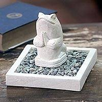 Limestone figurine, 'Praying Frog' - Artisan Crafted Limestone Balinese Frog Figurine in Pond