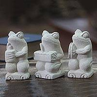 Limestone figurines, 'Musical Frogs I' (set of 3) - Artisan Crafted Limestone Balinese Frog Figurines (Set of 3)