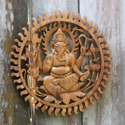 Balinese artisan carved ganesha wood relief panel ganesha aura