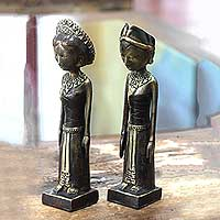Bronze sculptures, 'Newlyweds' (pair) - Artisan Crafted Set of Two Bronze Sculptures