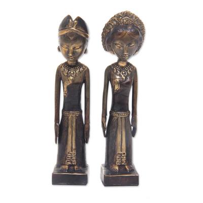 Bronze sculptures, 'Newlyweds' (pair) - Artisan Crafted Set of Two Bronze Sculptures