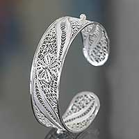 Featured review for Sterling silver filigree cuff bracelet, White Jasmine