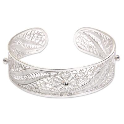 Unique Sterling Silver Filigree Flower and Leaf Cuff Bracelet