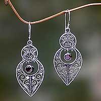 Garnet and sterling silver dangle earrings, 'Majapahit Glory' - Balinese Sterling Silver Dangle Earrings with Garnet
