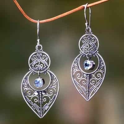 Blue topaz and sterling silver dangle earrings, 'Majapahit Glory' - Blue Topaz and Sterling Silver Dangle Earrings from Bali