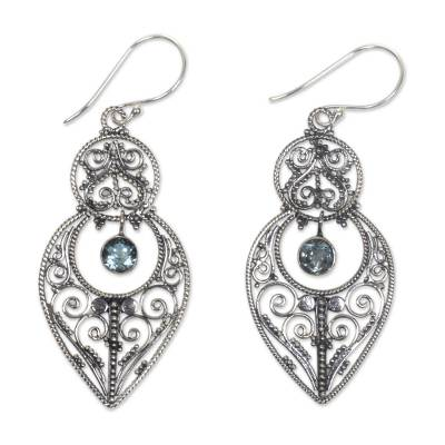 Blue Topaz and Sterling Silver Dangle Earrings from Bali
