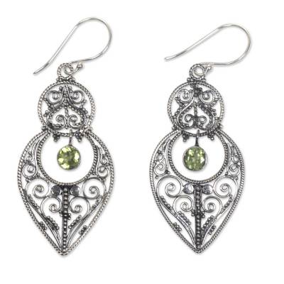 Peridot and sterling silver dangle earrings, 'Majapahit Glory' - Artisan Crafted Peridot on Sterling Silver Hook Earrings
