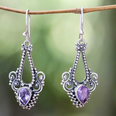 Amethyst dangle earrings, 'Balinese Glitz' - Pisces Amethyst Birthstone on Sterling Silver Hook Earrings