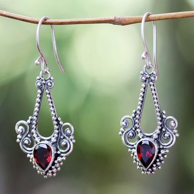 Garnet dangle earrings, 'Balinese Glitz' - Aquarius Garnet Birthstone on Sterling Silver Hook Earrings
