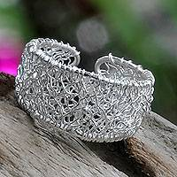 Sterling silver wrap ring, 'Celuk Lace'