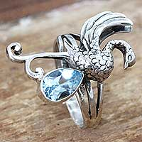 Blue topaz cocktail ring, 'Swan'