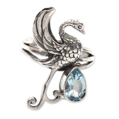 Blue topaz cocktail ring, 'Swan' - Blue Topaz Swan Theme Sterling Silver Cocktail Ring