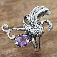 Amethyst cocktail ring, 'Swan' - Amethyst and Sterling Silver Swan Theme Cocktail Ring
