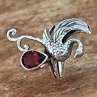 Garnet cocktail ring, 'Swan' - Handmade Sterling Silver and Garnet Swan Theme Cocktail Ring