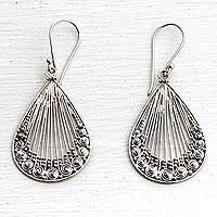 Sterling silver dangle earrings, 'Peacock Feather'