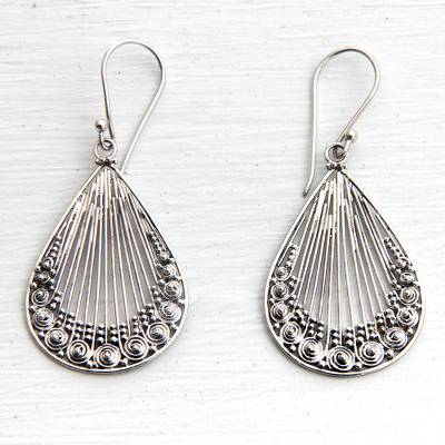 Sterling silver dangle earrings, 'Peacock Feather' - Lacy Handcrafted Sterling Silver Earrings from Bali