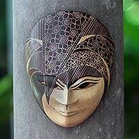 Wood batik mask, 'Dimas' - Batik Wood Mask of Young Javanese Gentleman