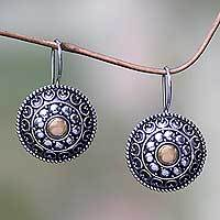 Gold accent drop earrings, 'Ancient Java Sun'