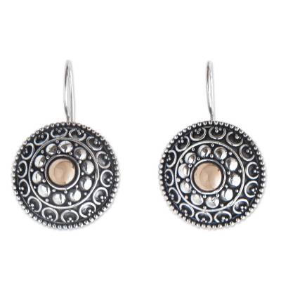 Gold accent drop earrings, 'Ancient Java Sun' - Antique Style Silver Earrings with 18k Gold Accents